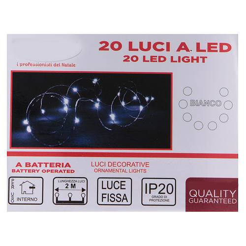 20 drop Christmas LEDs light in white, battery powered 4