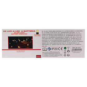 Christmas string lights, 20 warm white LEDs battery operated s4