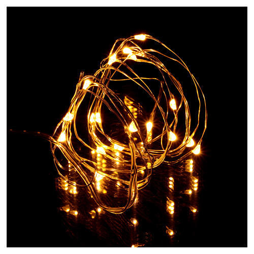 Christmas string lights, 20 warm white LEDs battery operated 2