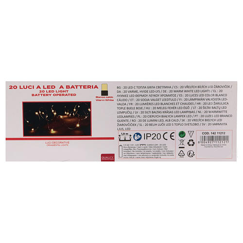 Christmas string lights, 20 warm white LEDs battery operated 4
