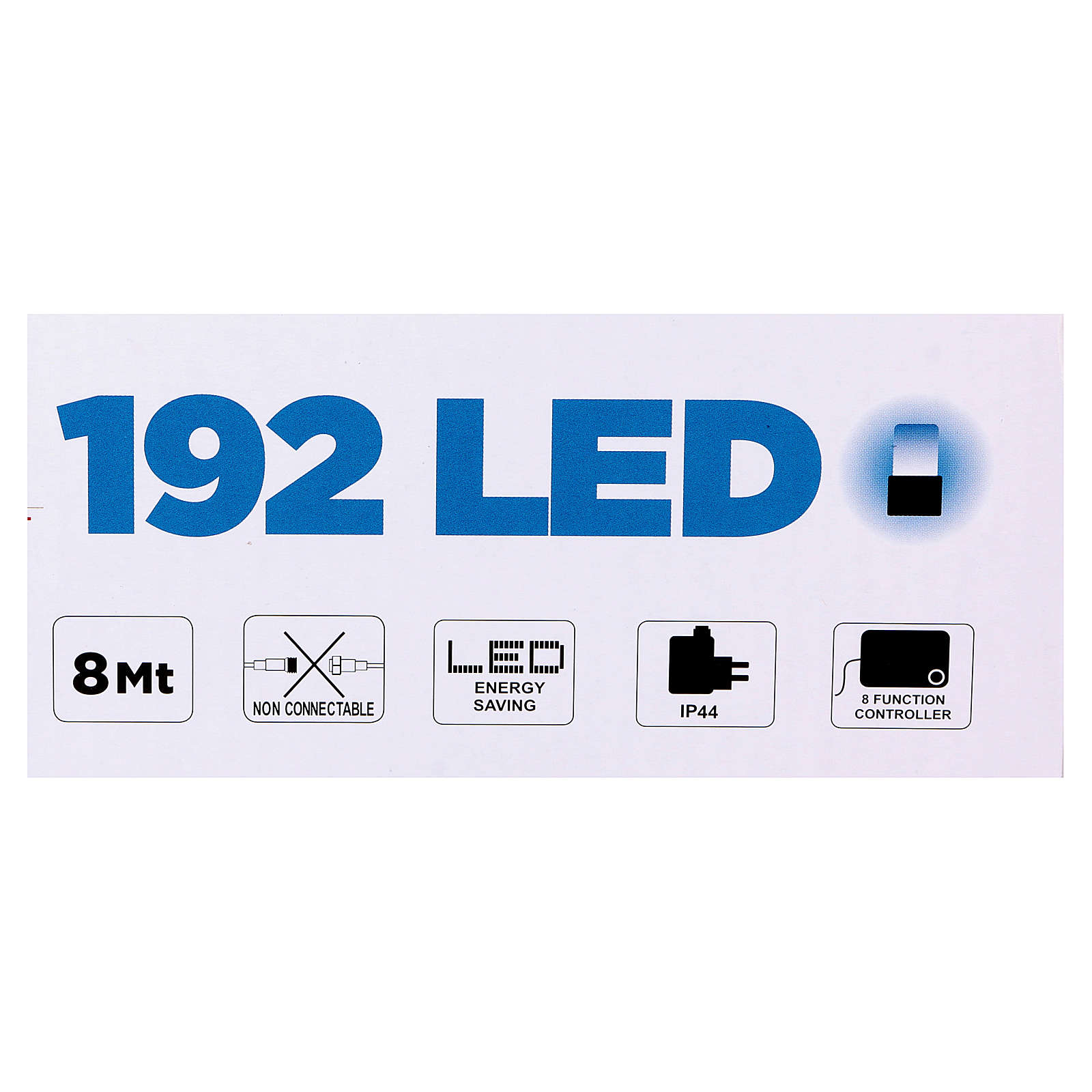 Luce Natalizia catena verde 192 led blu esterni flash control unit 8 m 3