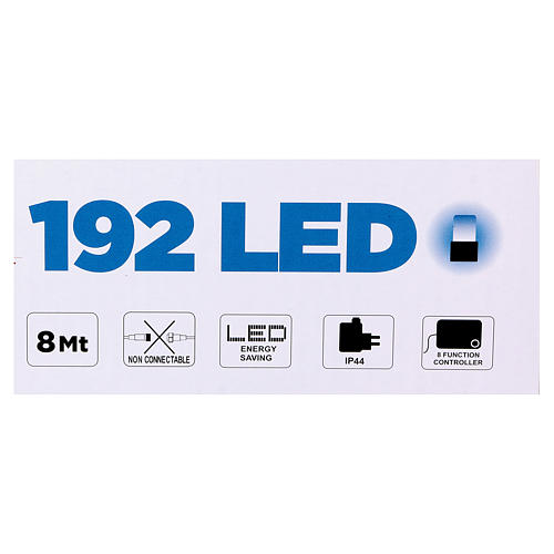 Luce Natalizia catena verde 192 led blu esterni flash control unit 8 m 5