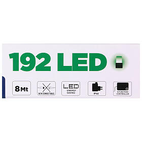Christmas string lights 192 green LEDS with control unit 8 m s5