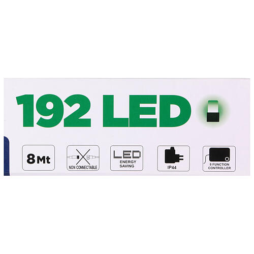 Christmas string lights 192 green LEDS with control unit 8 m 5