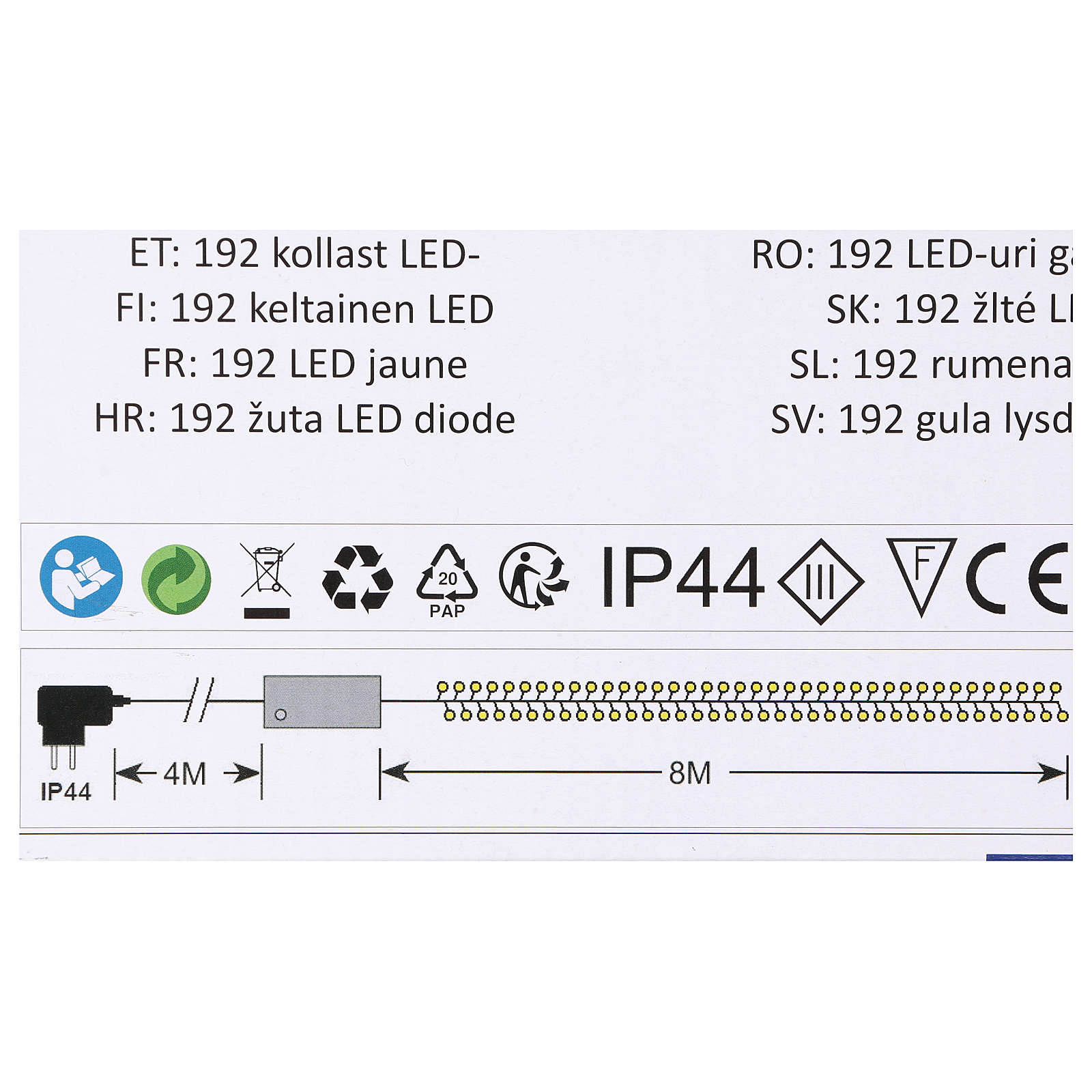Luce Natalizia catena verde 192 led gialli esterni flash control unit 8 m 3