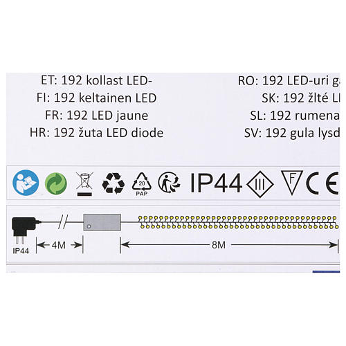 Luce Natalizia catena verde 192 led gialli esterni flash control unit 8 m 4