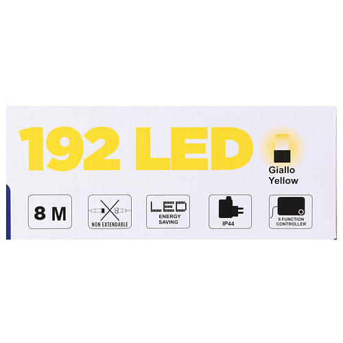 Luce Natalizia catena verde 192 led gialli esterni flash control unit 8 m 5