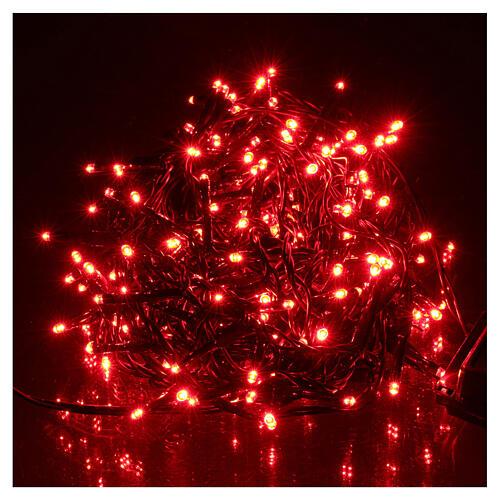 Luce Natalizia catena verde 192 led rossi esterni flash control unit 8 m 1