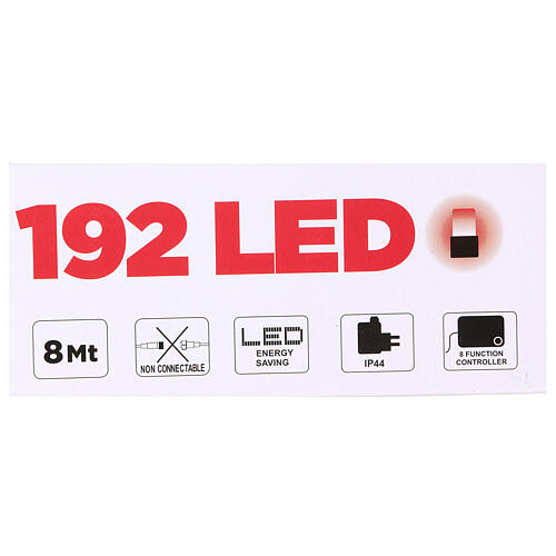 Luce Natalizia catena verde 192 led rossi esterni flash control unit 8 m 4