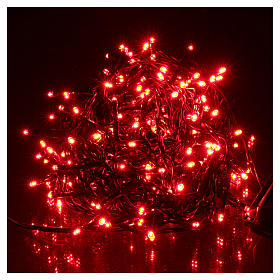 Christmas lights green wire, 192 red LEDs with flash control unit 8 m s2