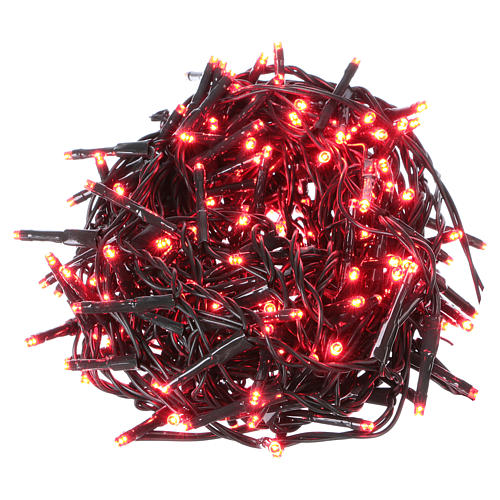 Christmas lights green wire, 192 red LEDs with flash control unit 8 m 1