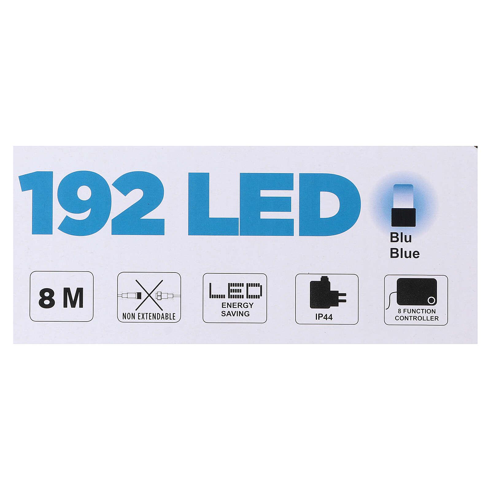 Luce di Natale catena 192 led blu esterni flash control unit 8 m 3