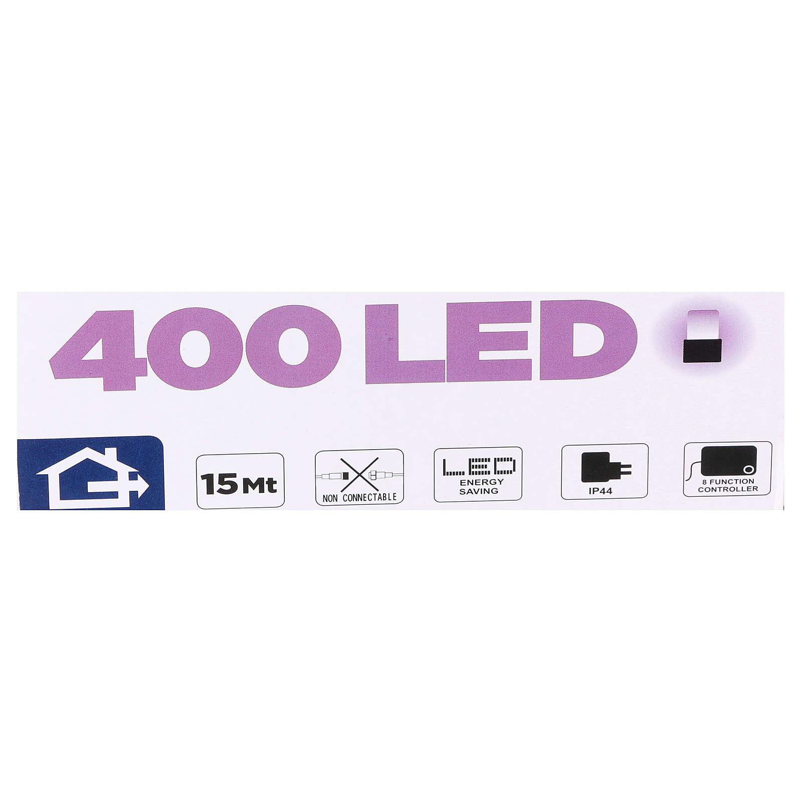 Luce Natalizia catena 400 led viola esterni flash control unit 8 m 3