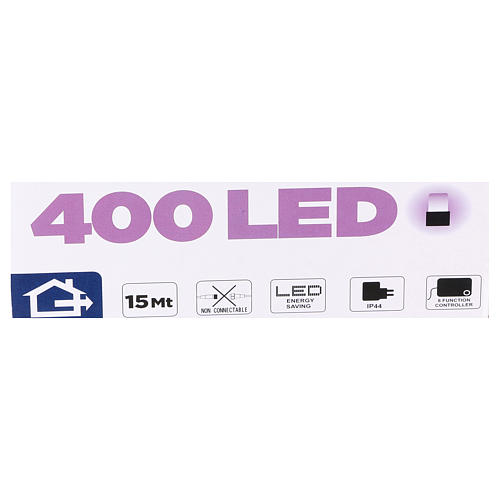 Luce Natalizia catena 400 led viola esterni flash control unit 8 m 4