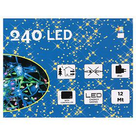 Luce Natalizia catena 240 led multicolori esterni interruttore 12 m s4