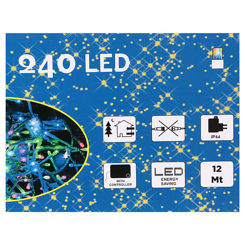 Christmas string lights, 240 multicolor LEDs with external switch 12 m 4