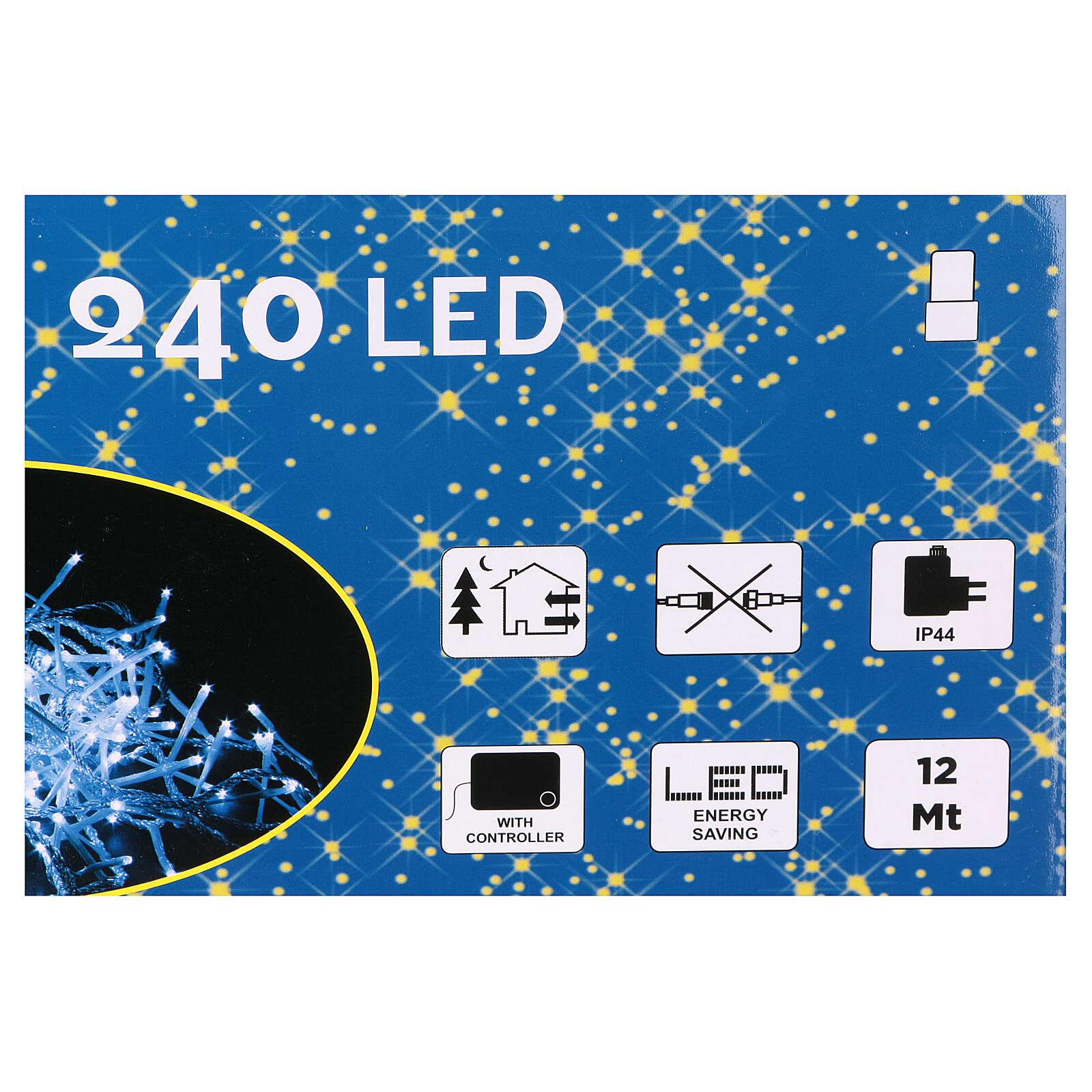 Luce Natalizia catena 240 led bianchi esterni interruttore 12 m 3