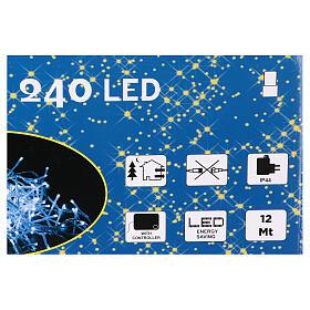 Luce Natalizia catena 240 led bianchi esterni interruttore 12 m s4