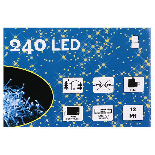 Luce Natalizia catena 240 led bianchi esterni interruttore 12 m 4