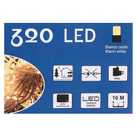 Luce Natalizia catena 320 led bianchi caldi esterni interruttore 16 m s4