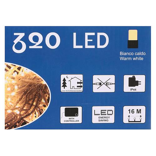 Luce Natalizia catena 320 led bianchi caldi esterni interruttore 16 m 4