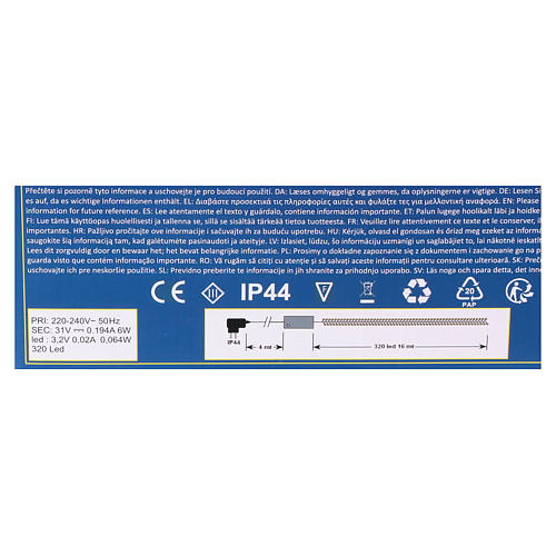 Luce Natalizia catena 320 led bianchi caldi esterni interruttore 16 m 5