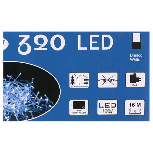 Luce Natalizia catena 320 led bianchi esterni interruttore 16 m 4