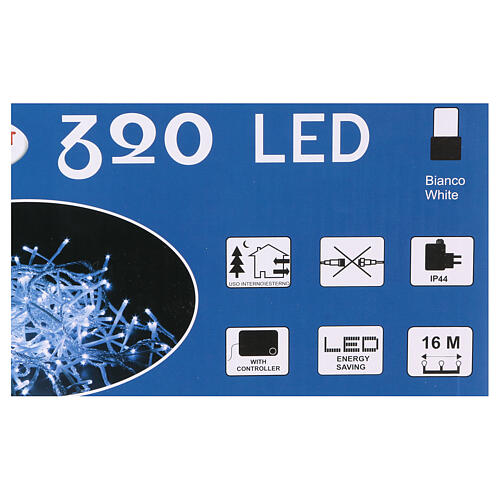 Christmas lights 320 white LEDs with external switch 16 m 4