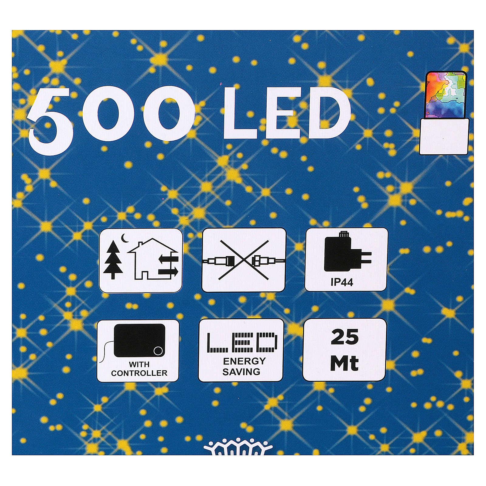 Luz de Navidad cadena 500 led multicolores exterior interruptor 25 m 3