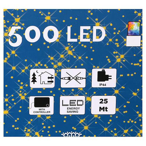 Guirlande Noël chaîne 500 Leds multicolores extérieur interrupteur 25 m 3