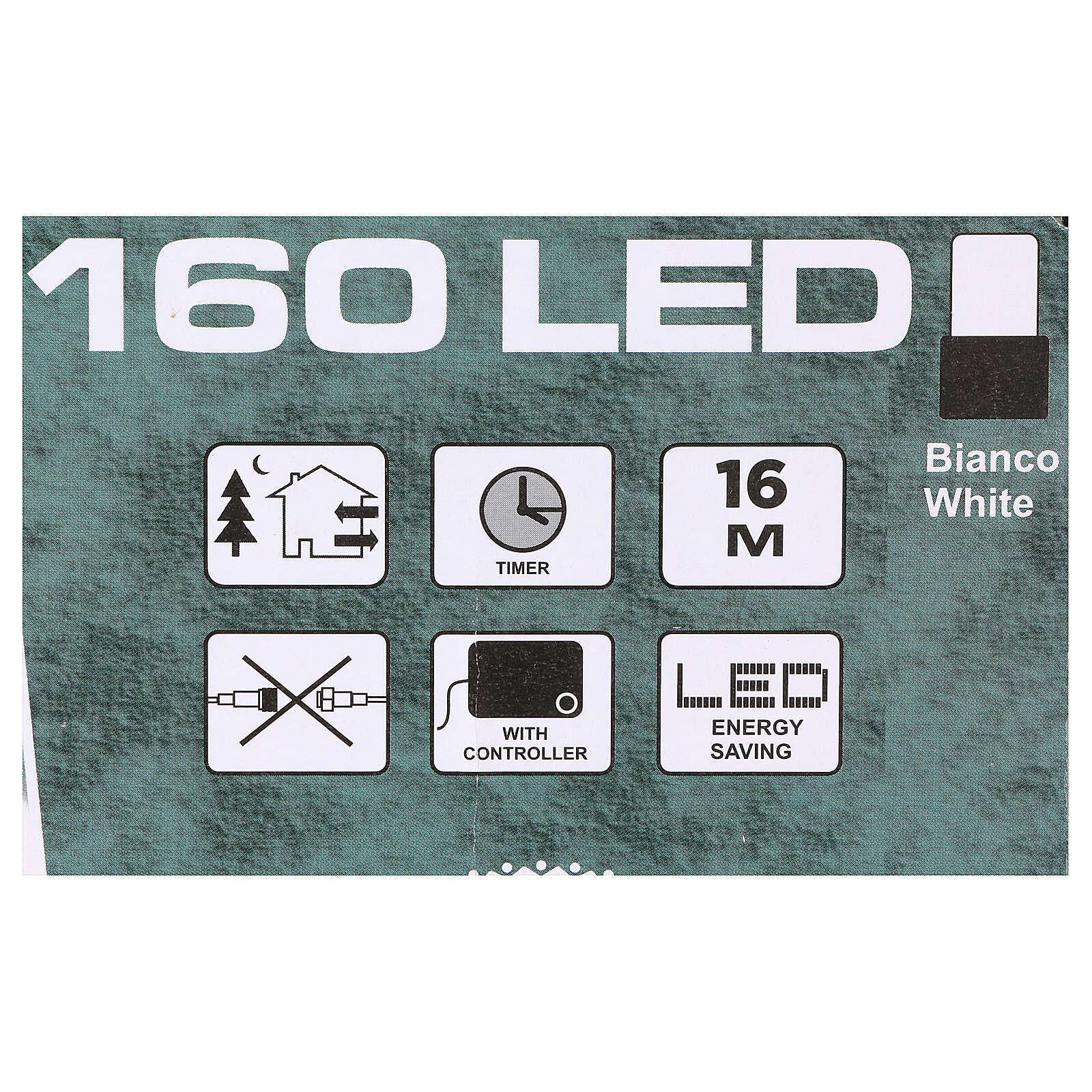 Luz de Navidad cadena 160 led blancos exterior batería 16 m 4