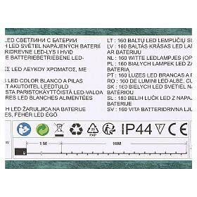 Luz de Navidad cadena 160 led blancos exterior batería 16 m s4