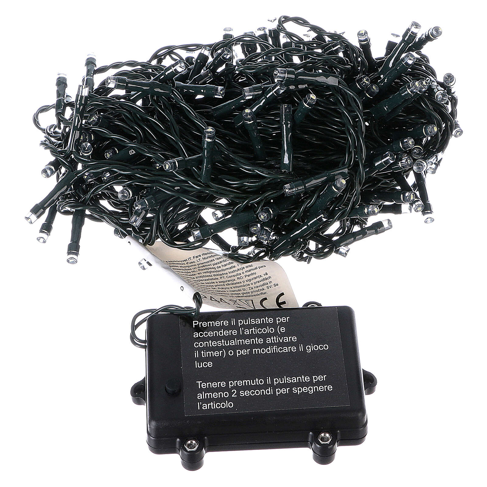 Luce di Natale catena 160 led bianchi esterni batterie 16 m 4