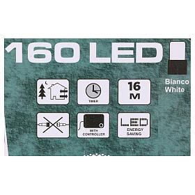 Luce di Natale catena 160 led bianchi esterni batterie 16 m s4