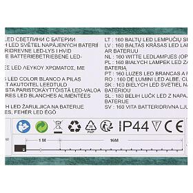 Luce di Natale catena 160 led bianchi esterni batterie 16 m s5