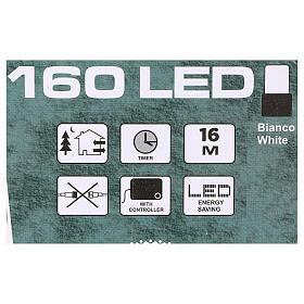 Luce di Natale catena 160 led bianchi esterni batterie 16 m s3