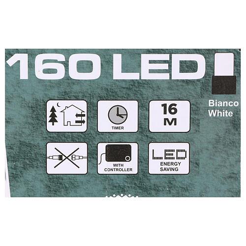 Luce di Natale catena 160 led bianchi esterni batterie 16 m 3