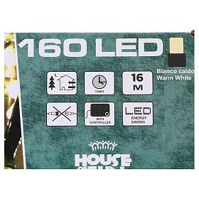 Luce di Natale catena 160 led bianchi caldi esterni batterie 16 m s4