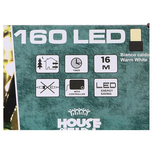 Luce di Natale catena 160 led bianchi caldi esterni batterie 16 m 4