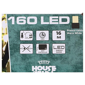 Battery powered Christmas lights, 160 warm white LEDs 16 m s4
