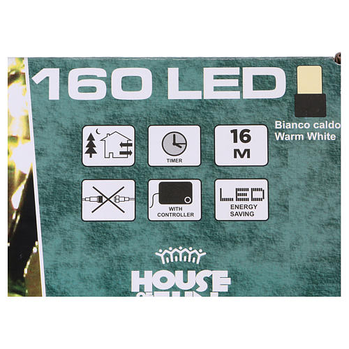 Battery powered Christmas lights, 160 warm white LEDs 16 m 4