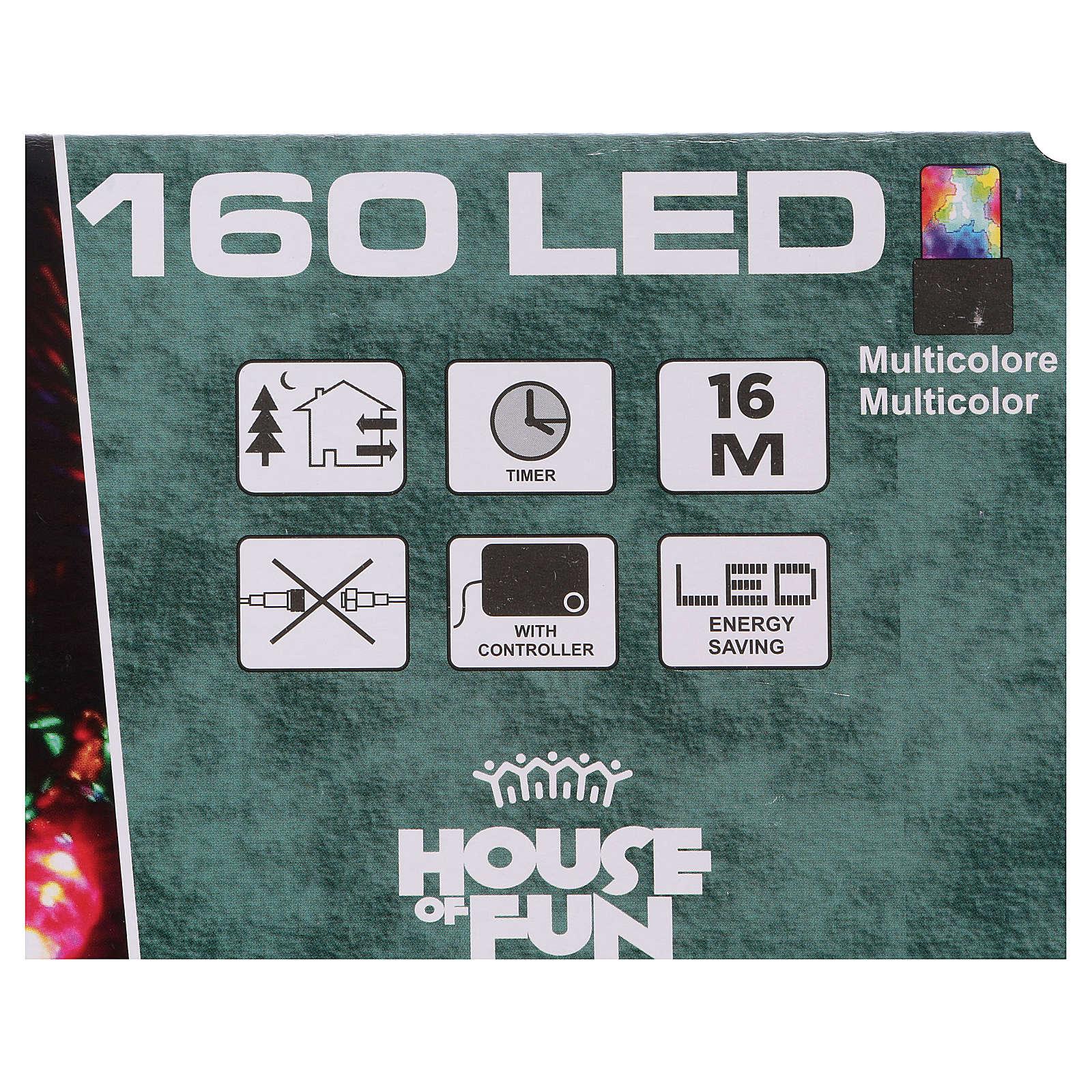 Luz de Navidad cadena 160 led multicolores exterior batería 16 m 3