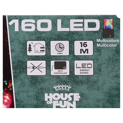Pisca-pisca cabo verde 160 LED multicores para exterior pilhas 16 m 4