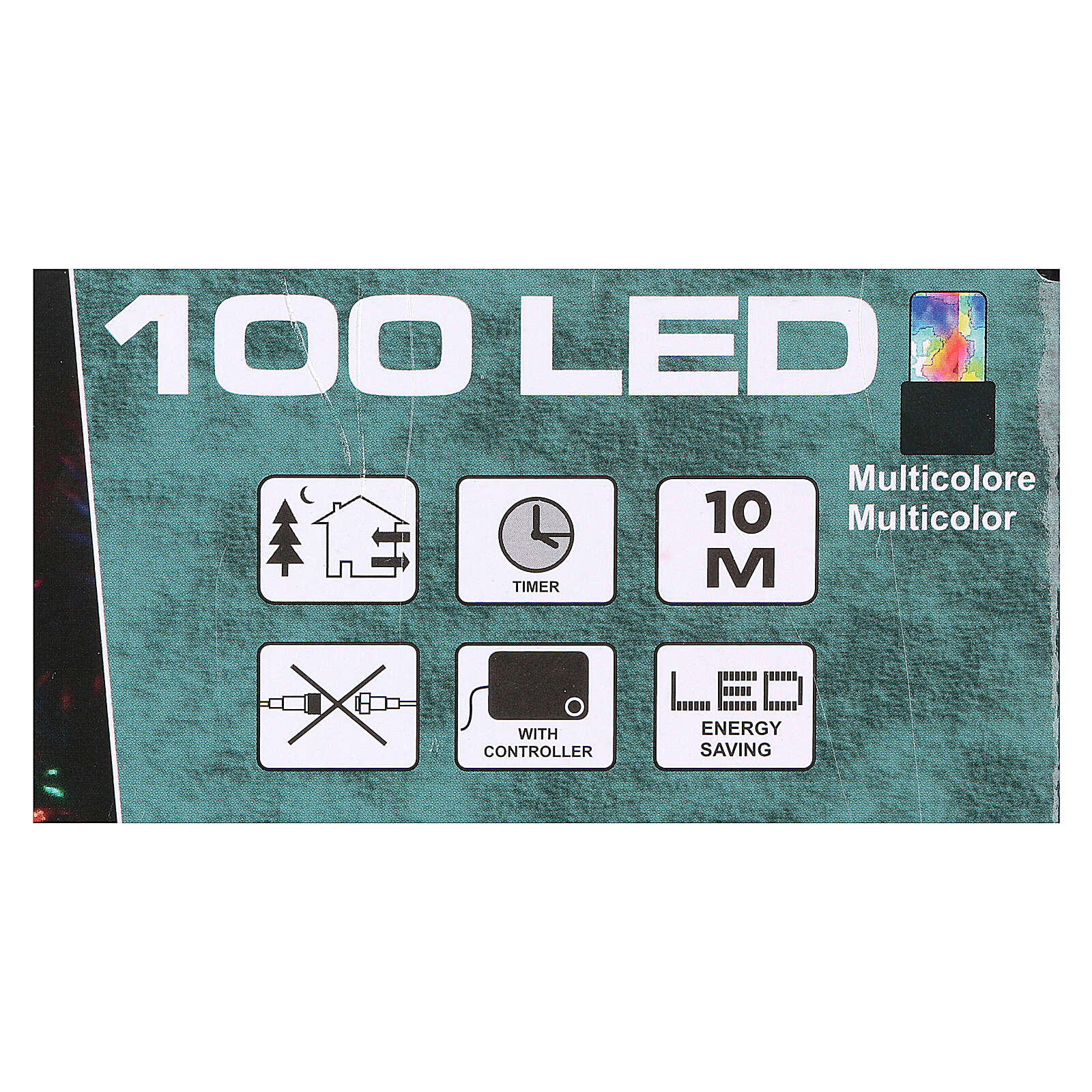 Battery powered Christmas lights, green wire 100 multi colour LEDs 10 m 4