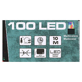 Battery powered Christmas lights, green wire 100 multi colour LEDs 10 m s3