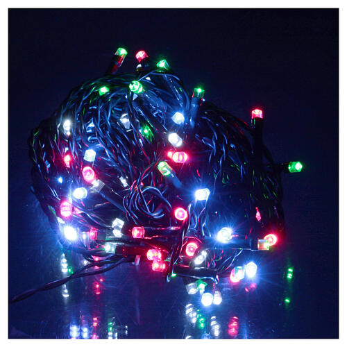 Battery powered Christmas lights, green wire 100 multi colour LEDs 10 m 1