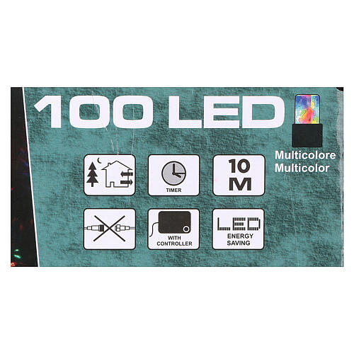 Battery powered Christmas lights, green wire 100 multi colour LEDs 10 m 3