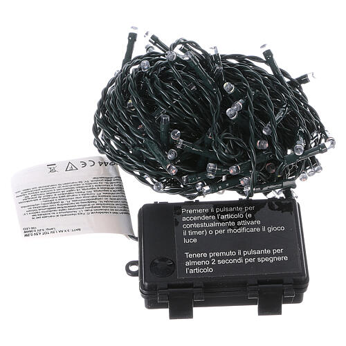 Battery powered Christmas lights, green wire 100 multi colour LEDs 10 m 5