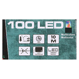 Battery powered Christmas lights, green wire 100 multi color LEDs 10 m s4