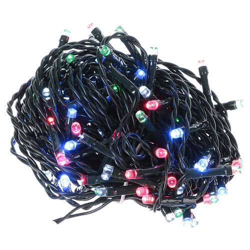 Battery powered Christmas lights, green wire 100 multi color LEDs 10 m 1